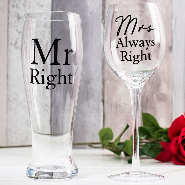 Amore Wine & Pint Glass Set Mr Right/ Mrs Always Right