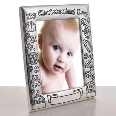 Rama foto argintata de botez Juliana
