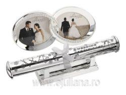 Rama foto verighete suport certificat de casatorie set placat cu argint Juliana