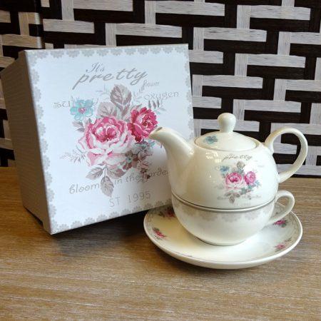 Set ceai ceainic ceasca si farfurioara portelan fin