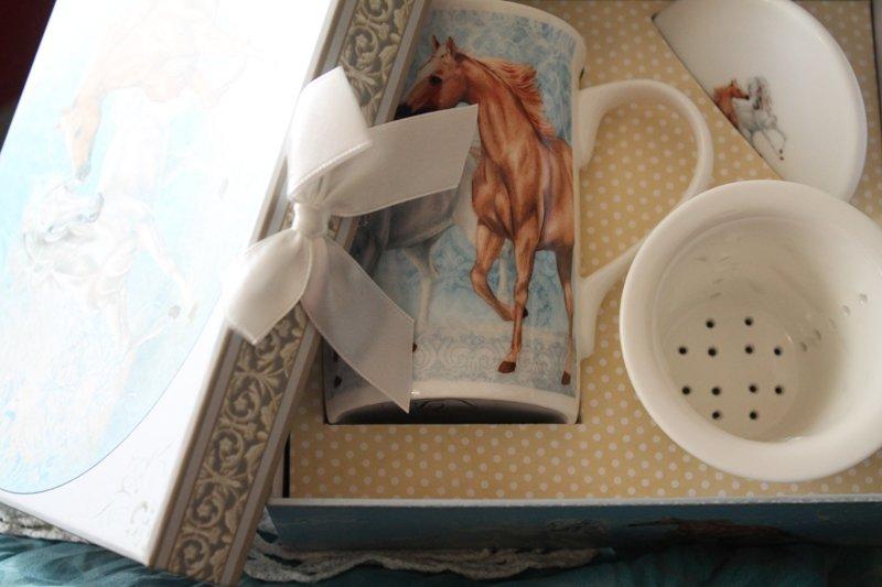 Cana de ceai cu infuzor cu cai