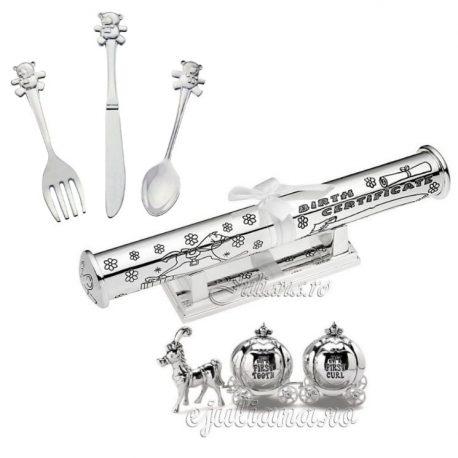 Cadou pentru fetita tacamuri argintate, suport pentru certificat, set prima suvita si primul dintisor