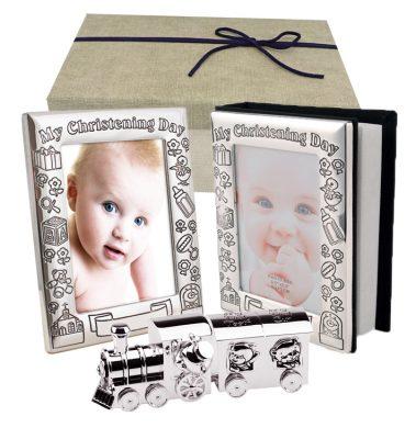 Album si rama foto set bucla dintisor tren cadou de botez pentru baietel