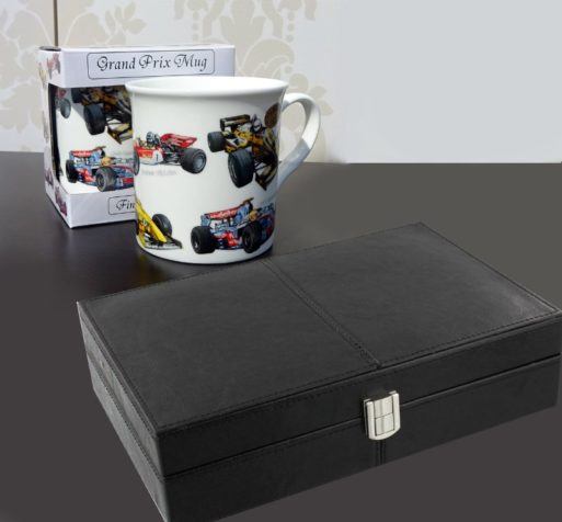 Cana cu masini de Formula 1 si cutie de ceasuri de mana pentru barbati