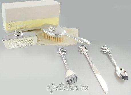 Set perie pieptene tacamuri argintate
