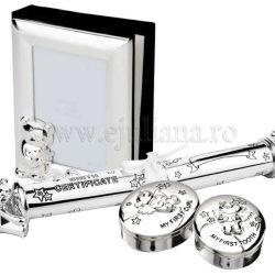 Cadou de botez argintat Twinkle album mot dintisor suport pentru certificat de nastere
