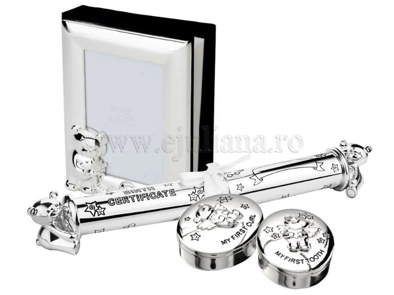 Cadou de botez argintat album mot dintisor suport pentru certificat de nastere