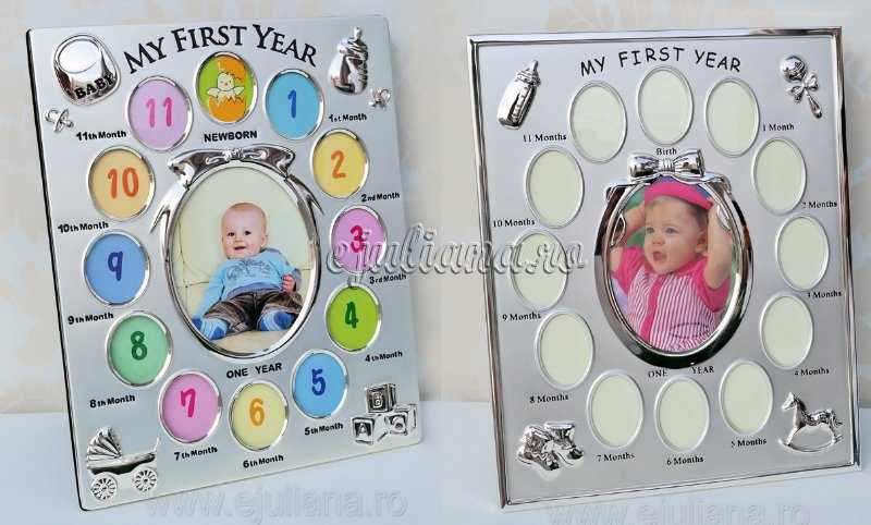 rama foto pentru primul an modele diferite, Cadou argint bebe Juliana