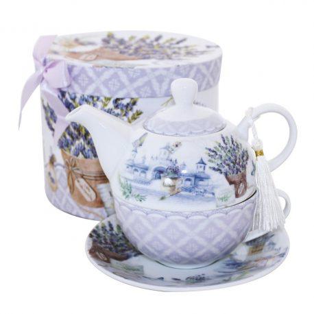 Set de ceai ceainic de portelan decorat cu flori de lavanda