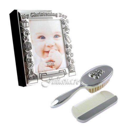 Album set perie pieptene cadou botez argint