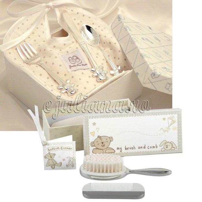Set perie pieptene tacamuri cadou bebe botez