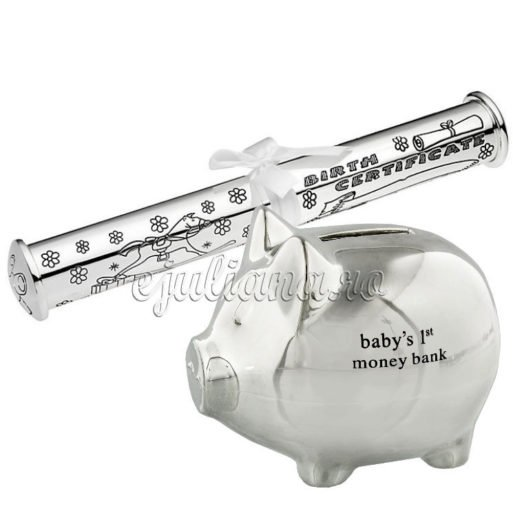 Porcusor argintat pusculita si suport pentru certificatul de nastere