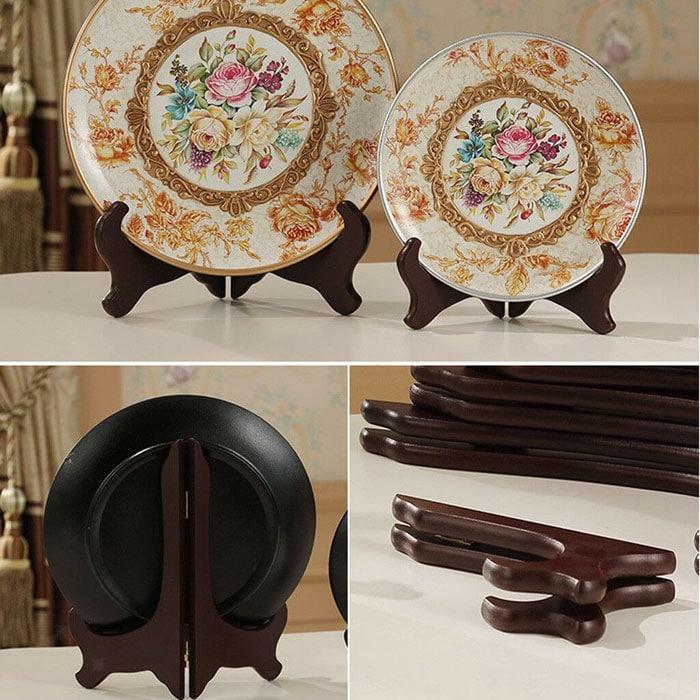 Suport pentru farfurii decorative, suport de lemn