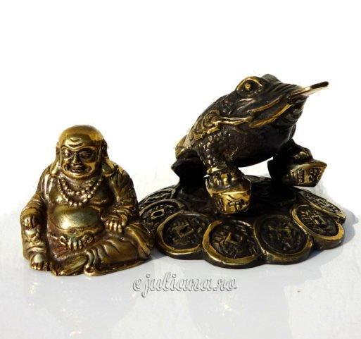 Broasca norocoasa de bronz antichizata feng shui si buda