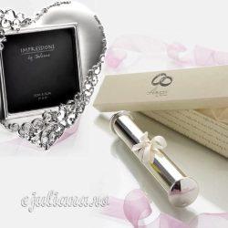 Rama inimioara suport certificat de nunta argintat