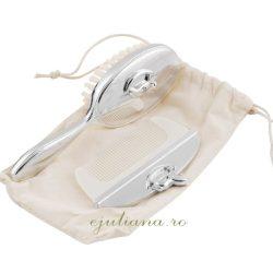 Perie pieptene argintat cadou de botez Juliana