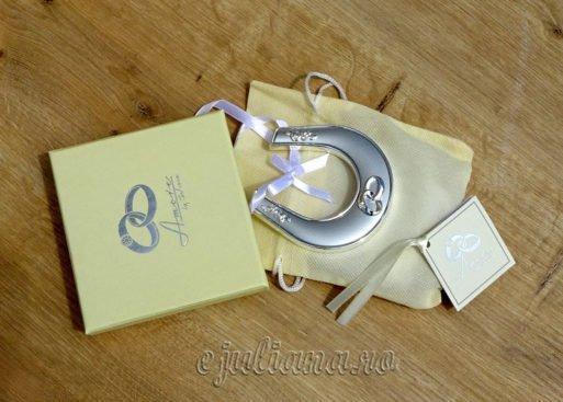 Potcoava norocoasa argintata cadou pentru miri