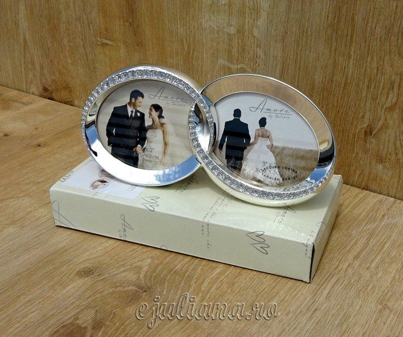 Rama verighete argintata cu strasuri, Cadou de nunta