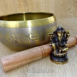 Ganesh statueta antichizata si bol cantator tibetan