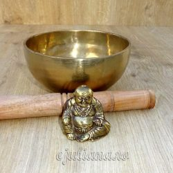 Buddha statueta antichizata si bol cantator batut manual