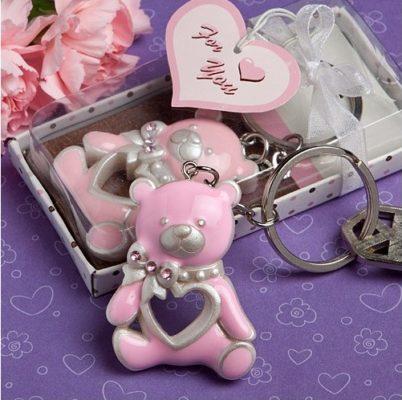 Marturie de botez breloc ursulet roz pentru fetita