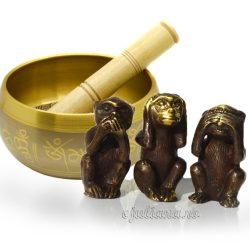 Trei maimute intelepte si bol tibetan cantator
