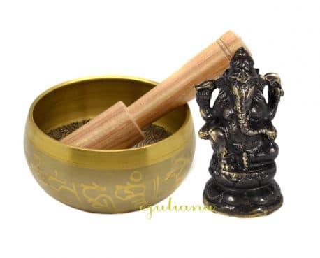 Bol tibetan cantator si statueta Ganesh