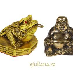 Broasca norocoasa si buddha statueta antichizata