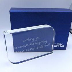 Trofeu de cristal mesaj personalizat