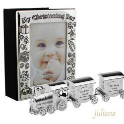 Album foto tren argintat mot dinte cadou de botez pentru baiat