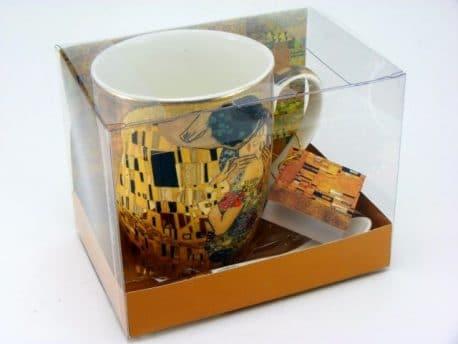 Cana de portelan fin cu lingurita Gustav Klimt