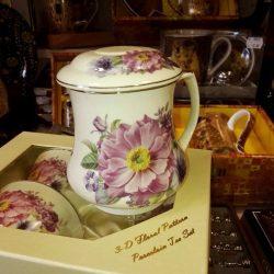 cana de ceai cu infuzor metalic, set din din portelan fin cu flori