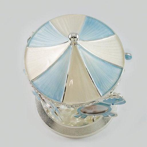 Carusel muzical albastru argintat pentru baietel