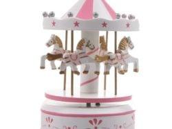Carusel muzical alb roz pentru fetita