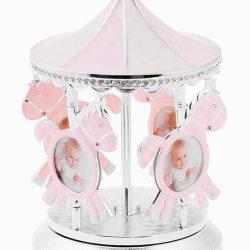 Carusel muzical argintat roz