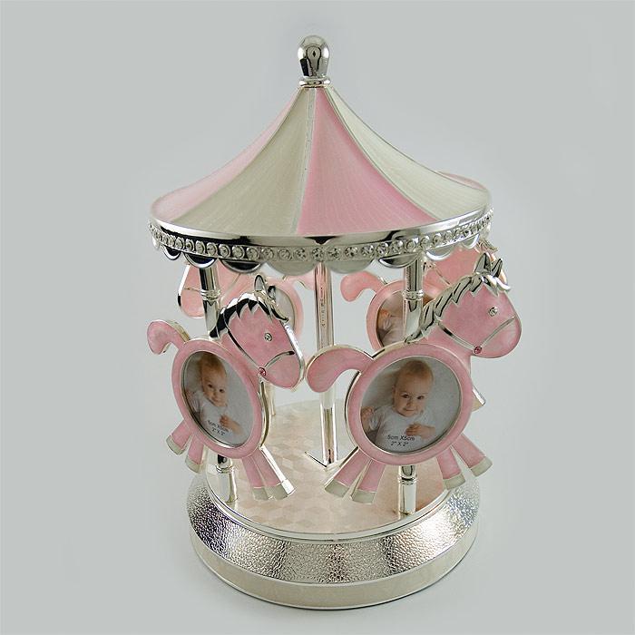 Carusel muzical roz argintat pentru fetita