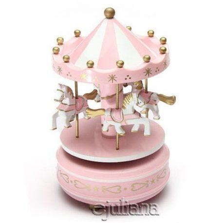 Carusel muzical roz pentru fetita