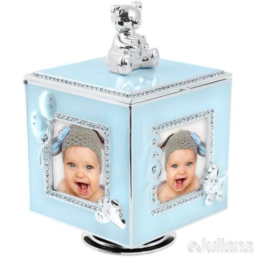 Cutiuta muzicala carusel cub argintat bleu