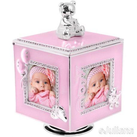 Cutiuta muzicala carusel cub argintat roz