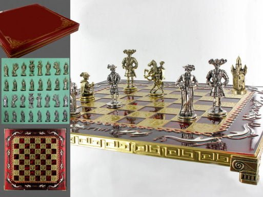 Joc de sah Rococo cu tabla de metal si alabastru