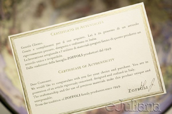 certificat de autenticitate minibar glob antichizat Zoffoli