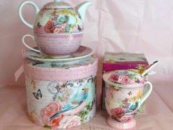 Ceainic tea for one cana cu infuzor flori si pasari