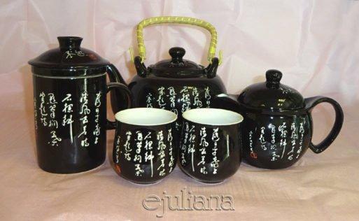 Set ceainic tea for one doua cesti si cana cu infuzor neagra