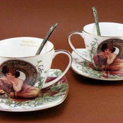 Set doua cesti de cafea portelan fin Alphonse Mucha