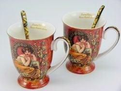Set doua cani de cafea din portelan fin Alphonse Mucha
