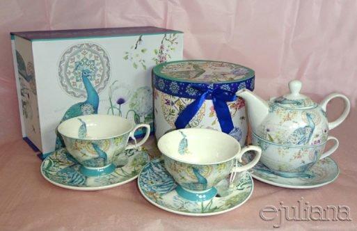 Ceainic set tea for one cu ceasca si cesti de cafea cu infuzor cu paun