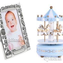 Carusel muzical albastru rama foto de botez