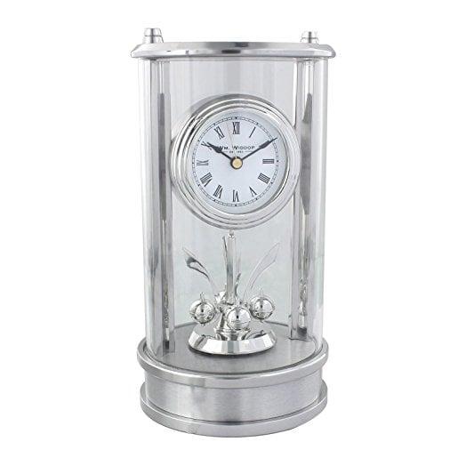 Ceas de birou argintiu vertical