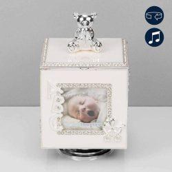 Cutiuta muzicala rotitoare, cub argintat cu rame foto pentru bebelusi