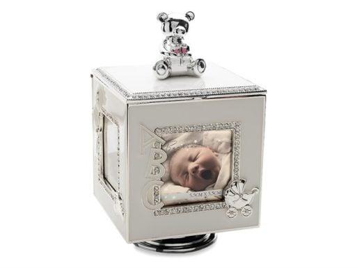 Cutiuta muzicala cub rotitor argintat cu rame foto pentru bebelusi